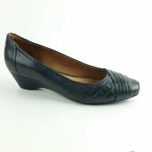 Clarks Artisan 7M Navy Blue Leather Wedge S21-5